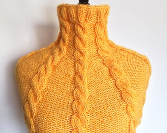 Women's Knitted Cabled Wool Capelet / Poncho / Neck Warmer / Cowl - Yellow