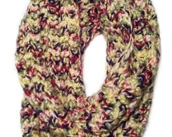 Multicolored Handmade Chunky Crochet Infinity Scarf