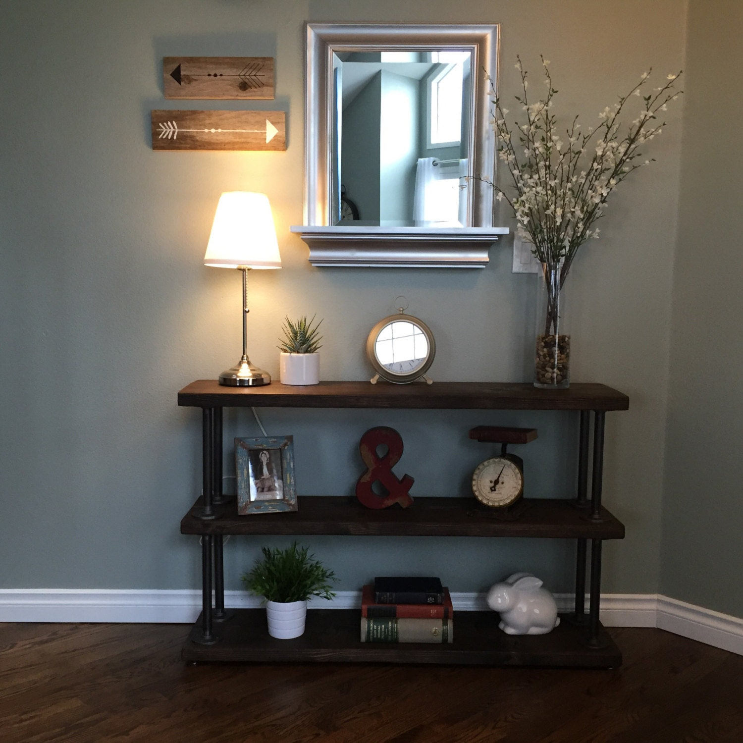 Reclaimed wood console table w metal pipe supports for a warm zoom geotapseo Images