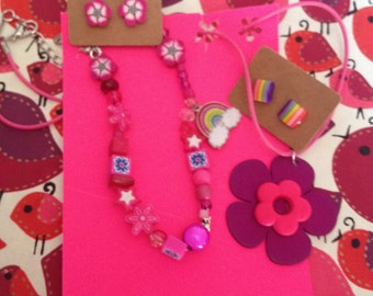 giggly girly flower & rainbow set