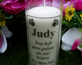 Pet Memorial Candle - Personalised - Wording of your choice - Paw Prints