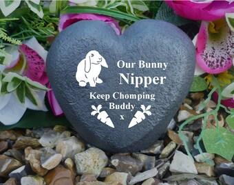 Rabbit Memorial - Heart - Weatherproof - Personalised - Freestanding - Lop eared rabbit