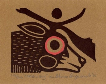"""First Nations Woodland Native Art """"Caribou Boy"""" by Ahmoo Angeconeb of Lac Seul, Sioux Lookout, Ontario"""