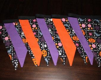 Halloween bunting, creepy pumpkins, orange, purple