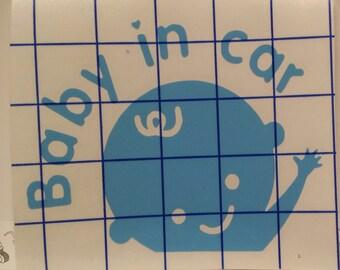 Baby in Car Decal - Vinyl Decal- Yeti Decal - Car Decal Sticker