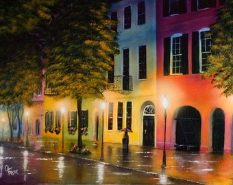 Rainbow Row - Art Print -Wall Decor,artwork,Picture,Charleston,SC,Sofa Painting,Architecture,Artwork,Original,Family Room,Living Room