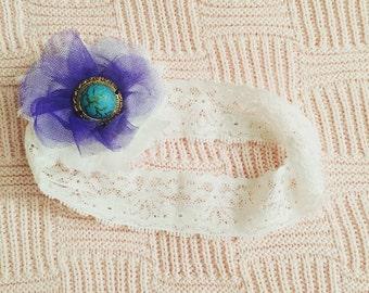 Turquoise/Royal white lace Headband