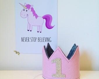 Girls first birthday mini crown