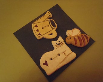 Vintage Ceramic Buttons Hand Made White Cat, Bumble Bee and Watering Can