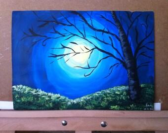 Alone Tree at Night; Acrylic Painting; Abstract Painting; Modern Art;  Original Painting; Original Art; Acrylic Painting on Paper