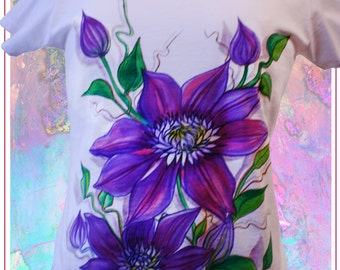 T- shirt  Purple Clematis.Cotton 100 %.Hand painted.