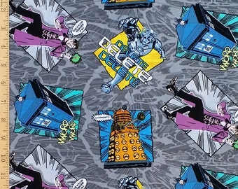 Dr. Who Fabric, Doctor Who Cotton Fabric, Dr. Who Dalek Madman in a Box Cartoon Cotton Fabric in Gray, 100% Cotton Fabric by the Yard