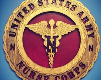 "Custom 12"" Wood US Army Nurse Corps Wall Tribute - FREE SHIPPING"