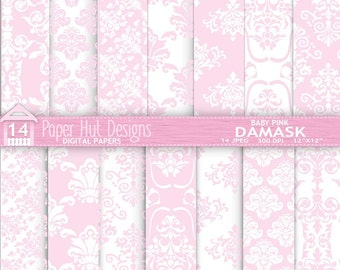 Baby pink Damask Baby Shower Digital Papers for Personal or Commercial Use. For Backgrounds, Card design, Invitations and Scrapbooking