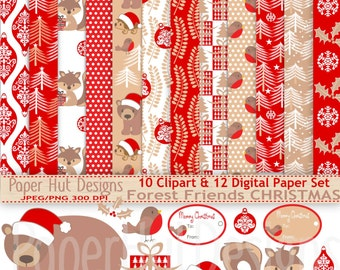 Christmas Digital Papers- and Christmas Clipart-Woodland Forest animals Clip Art-Holiday-Red Christmas Paper-Bear-Robin