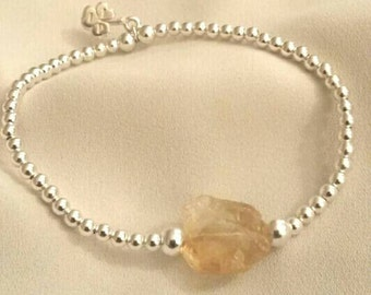 Sterling Silver 3mm Beaded Bracelet with Citrine Crystal Charm