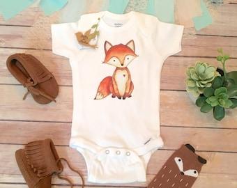 Baby Fox Onesie®, Boho Baby Clothes, Baby Shower Gift, Fox Baby Onesie, Cute Onesies, Baby Boy Gift, Baby Animal Onesie, Boho Baby Bodysuit