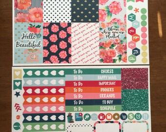 Last of Summer's Blooms Mini Weekly Set ECLP Horz and Vert Planner Stickers - Full Week ECLP Mambi Inkwell Press Filofax Kikki K Happy flora