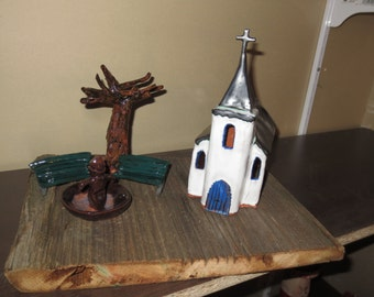 Church ceramic on barn wood, mounting with fountain, benches and sycamore, pottery, decoration