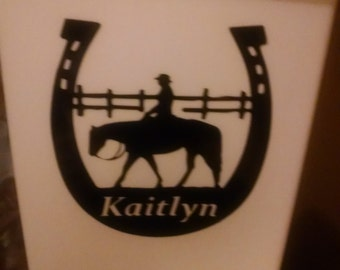 Personalized waste can - Horses!!!