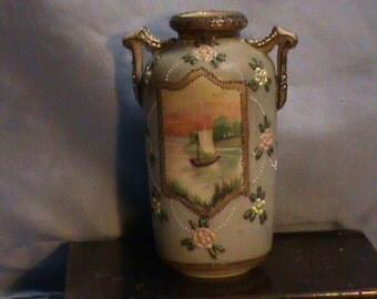 Nippon Vase With Saiboat Scene