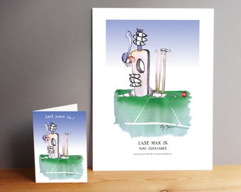 Cricket - Last Man In! - Gift Print and greeting card