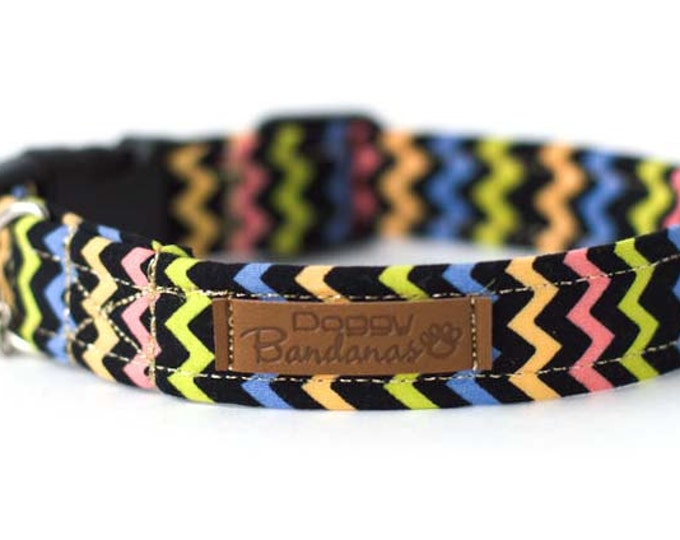 Aztec Dog Collar Colorful Black Dog Collar Custom Tribal Dog Collar Modern Preppy Dog Collar Girl Boy Dog Collar Cotton Handmade Dog Collar
