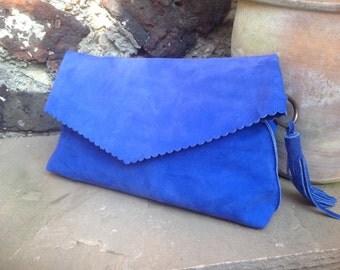 Blue Suede Clutch Bag