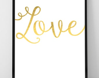 Gold Love Print, Gold Valentines Gift, Love Wall Art Print, Gold Amore, Anniversary Gift, Valentine's Gift, Bedroom Wall Art, Love Poster