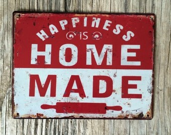 Vintage style tin metal sign // gift for her / shabby chic rustic wall art / kitchen decor bakery bistro / happiness homemade