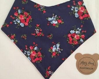 Handmade Bandana Dribble Bib (Navy Floral)