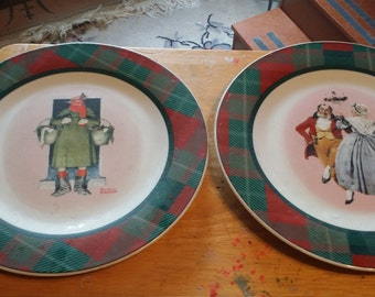 NORMAN ROCKWELL PLATES set of 4