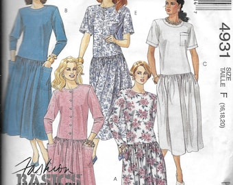 Vintage Pattern Women's Loose Fitting Dress,Dropped Waist-CUT to Size 16-McCall's 4931- Fashion Basics series-Petite-able- Dated 1990-Sz  16