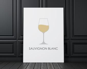 Wine Sauvignon Blanc, Printable Wall Art Prints and Posters, Modern Art, Digital Prints, Minimal, Typography, Home Decor