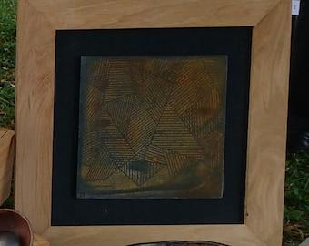 Tableau en céramique - terre sigillée à motif géométrique