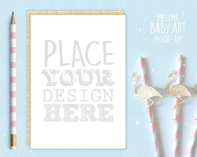 Invitation Mockup, Gold Party Invite Mockups, 5x7 Sower Party Mockup, Gold Flamingo Scene Mockup, Birthday Invite Mockup (Card.Flamingo)