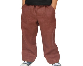Brown Handmade Linen Trousers
