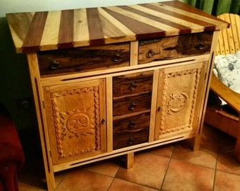 Handmade DRESSER - CREDENZA - Chest of drawers with hand carved panels and walnut drawers