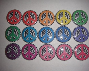 Rainbow Zebra Peace Sign Buttons Set of 15