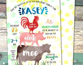 Farm Barnyard Watercolor Personalized Birthday Printable Invitation Print at Home