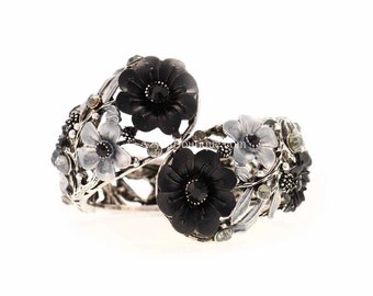 Silver Black Gray Flower Crystal Clamp Bracelet