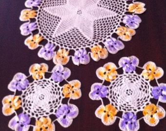Vintage Crocheted Doily Set