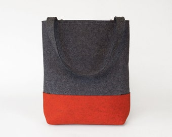 Wool Felt Tote in Charcoal Gray and Orange | Felt Bag