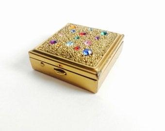 Vintage Brass & Faux-Gemstones Pill Box