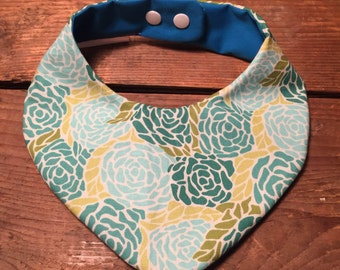 Blue & green floral waterproof baby bib