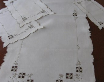 Beautiful Cutwork and Embroidered Table Runner and Table Mats