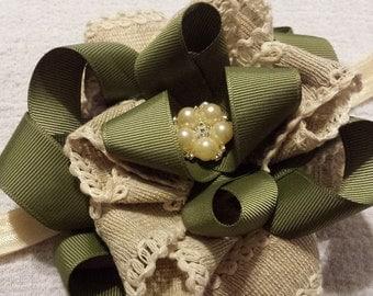 Baby Headband, Green/Tan/Ivory