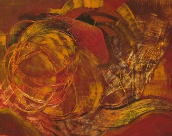 Expressionism abstract Painting on canvas,wall Art,vibrant,warm colors