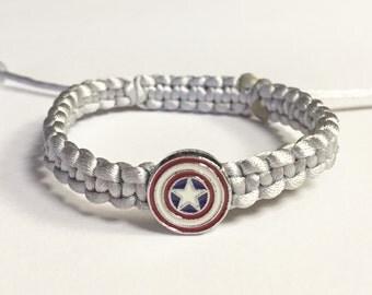 Star Charm Bracelet, Silver Nylon Star Braided Charm Bracelet