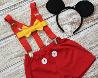Mickey Mouse Birthday Outfit, Mickey Mouse cake smash outfit, Mickey Mouse 2nd birthday outfit, 1st birthday, PLEASE READ LISTING
